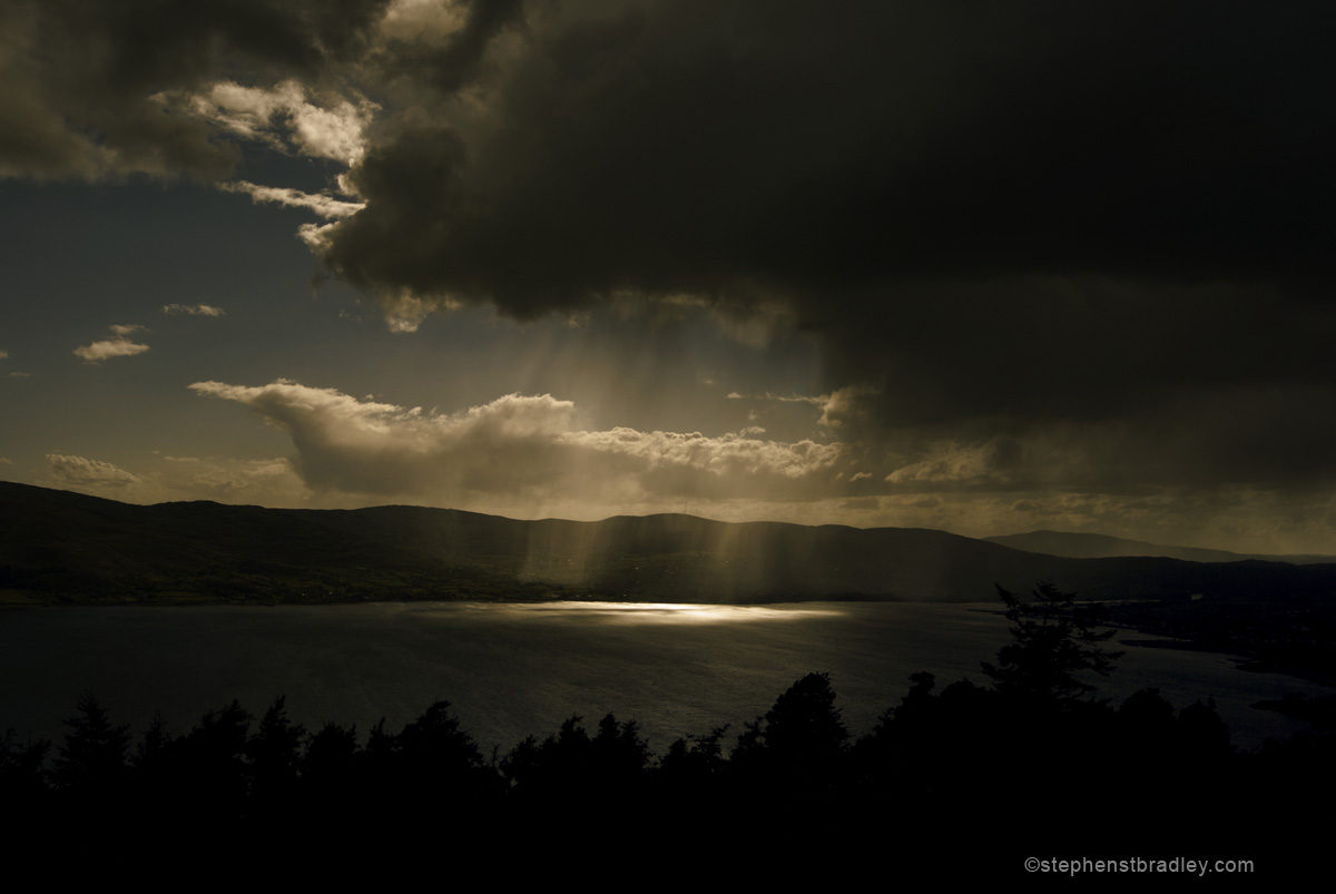Commercial photographer Atlanta, landscape photograph of storm clouds over Carlingford from Kilbroney Park, Northern Ireland - image 1824.