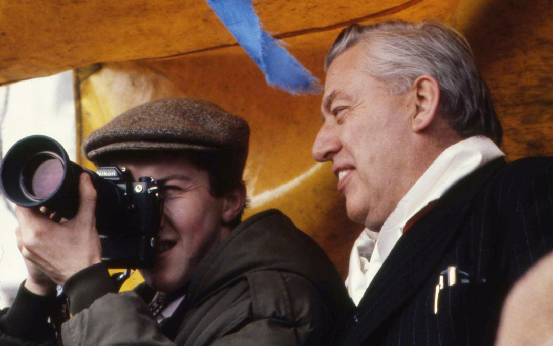 Photographer Stephen Bradley with Rev Ian Paisley, Carson Trail, Stormont Estate, Northern Ireland, 1981.