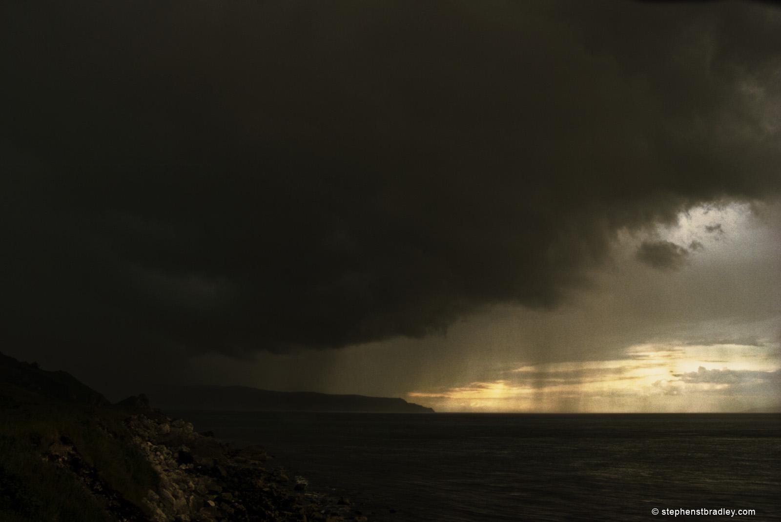 Rain clouds rolling onto Irish Sea from Glenariff, Northern Ireland - photo 2507.