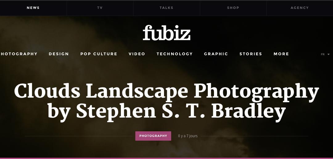 Landscape photographer Stephen S T Bradley editorial in fubiz - web site header illustration.