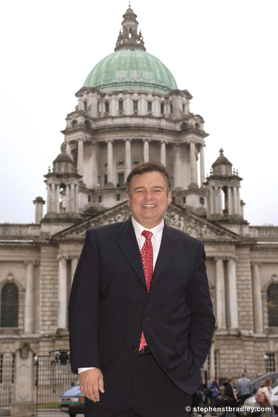 PR Photographer Dublin Ireland portfolio photo of celebrity Eamonn Holmes in front of Belfast City Hall, Northern Ireland - photo 6118 by Stephen S T Bradley PR photography and video production services Dublin, Ireland