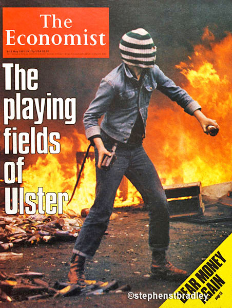 Editorial photography portfolio photo of masked rioter in Belfast on the June 1981 cover of The Economist - photo by Stephen S T Bradley, photographer Dublin, Ireland