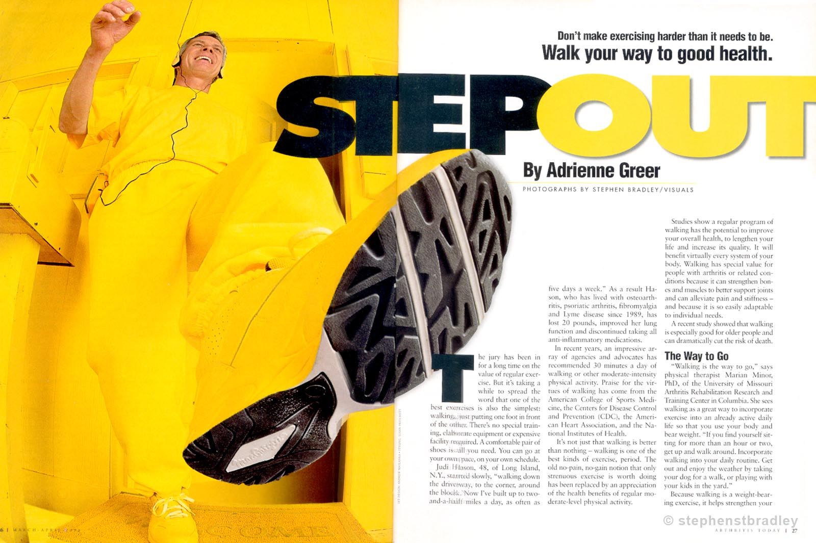 Editorial photography portfolio photo of man in yellow clothes photographed with fisheye lens for Arthritis Today magazine - photo by Stephen S T Bradley