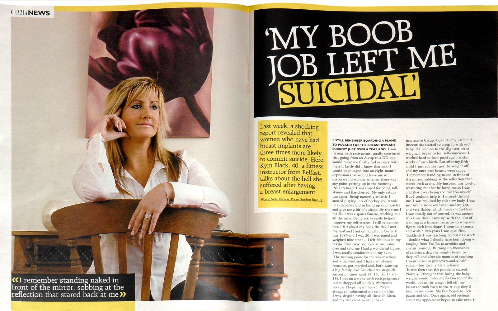 Editorial photographer Dublin portfolio - tear sheet of Kim Black photographed for Grazia Magazine by Stephen S T Bradley