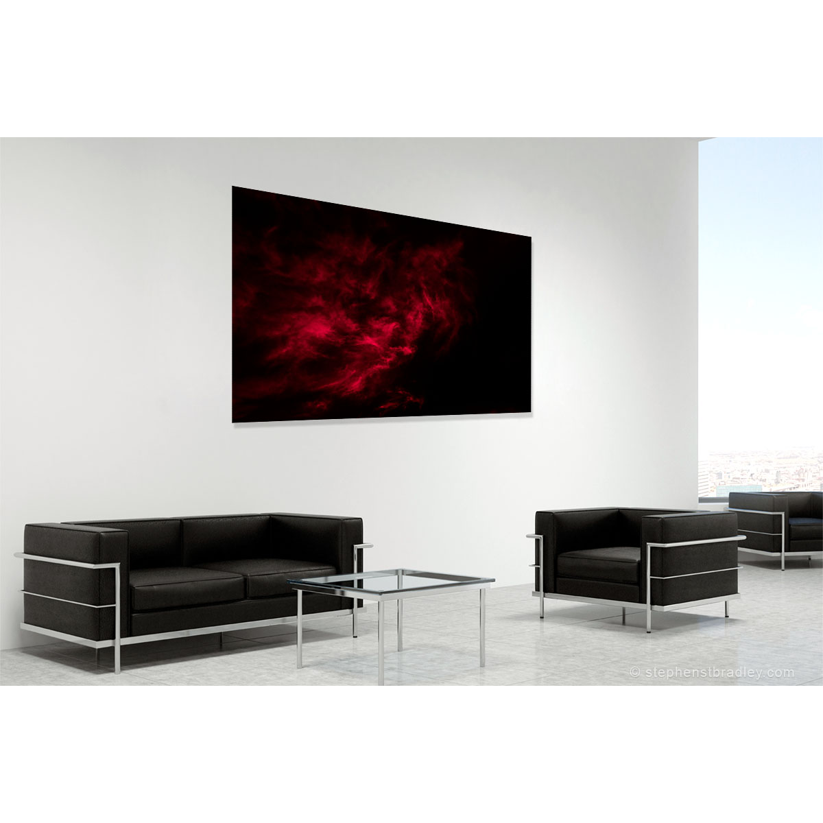 Vapour Red 6760. Limited edition fine art photo of clouds over Ireland by Stephen S T Bradley in room setting