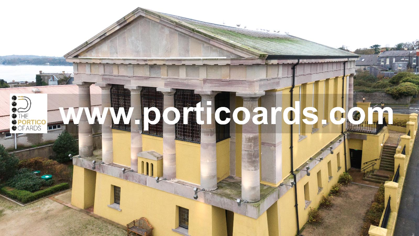 Aerial drone photography and video production services Dublin and Ireland portfolio - screenshot of Portico Ards video