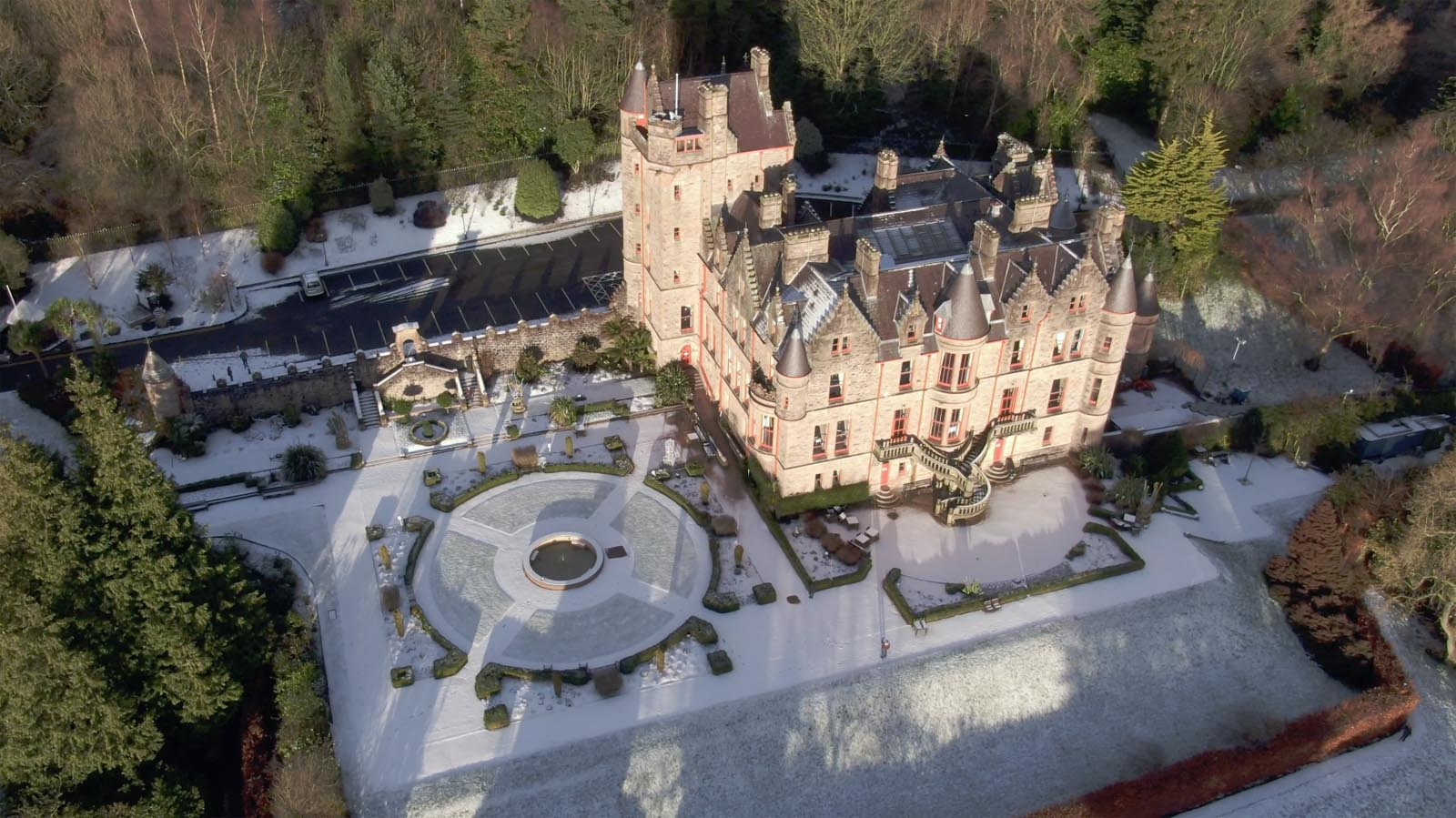 Aerial drone photography and video production services Dublin and Ireland portfolio - changing seasons in one video of Belfast Castle, Northern Ireland, video screenshot 4