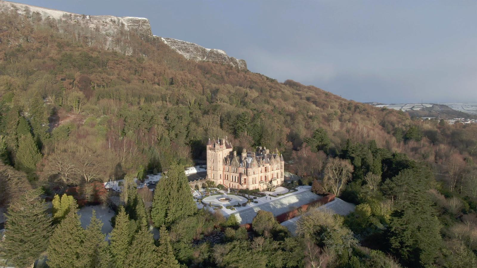 Aerial drone photography and video production services Dublin and Ireland portfolio - changing seasons in one video of Belfast Castle, Northern Ireland, video screenshot 6
