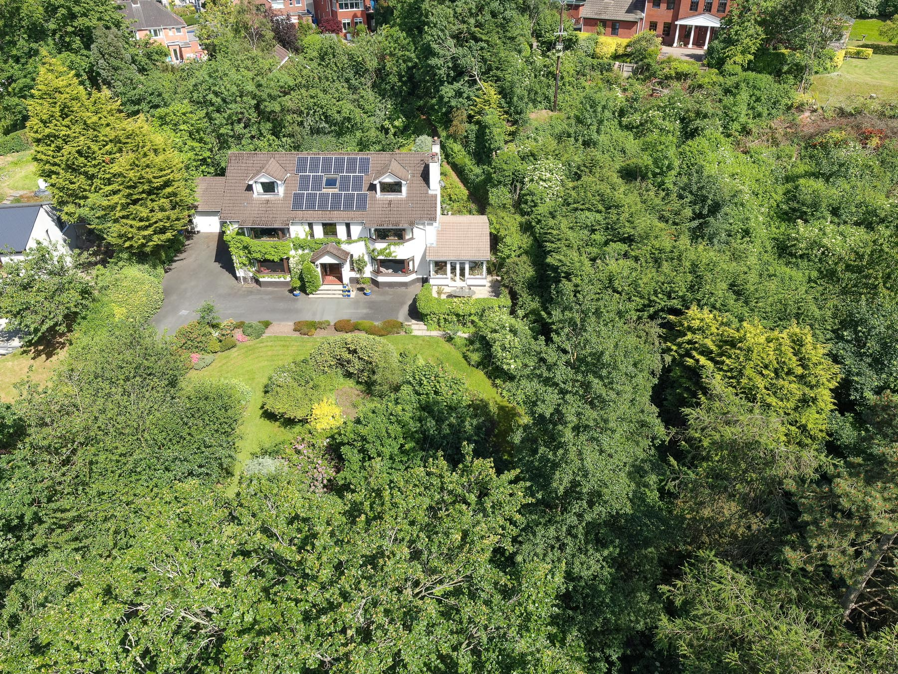 Aerial drone photography and video production services Dublin and Ireland portfolio - residential photography of Glenside, Northern Ireland. Photo 0021