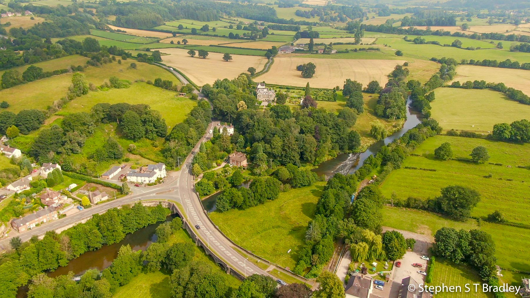 Aerial video of country house wedding at Birdsgrove, Derbyshire, UK, by Stephen S T Bradley - aerial drone photographer and video production services in Dublin and throughout Ireland. Screenshot reference 1
