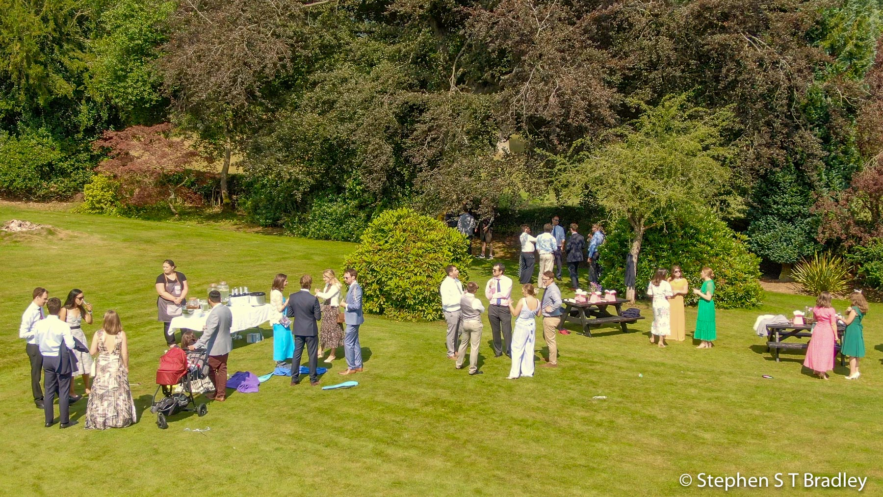 Aerial video of country house wedding at Birdsgrove, Derbyshire, UK, by Stephen S T Bradley - aerial drone photographer and video production services in Dublin and throughout Ireland. Screenshot reference 15