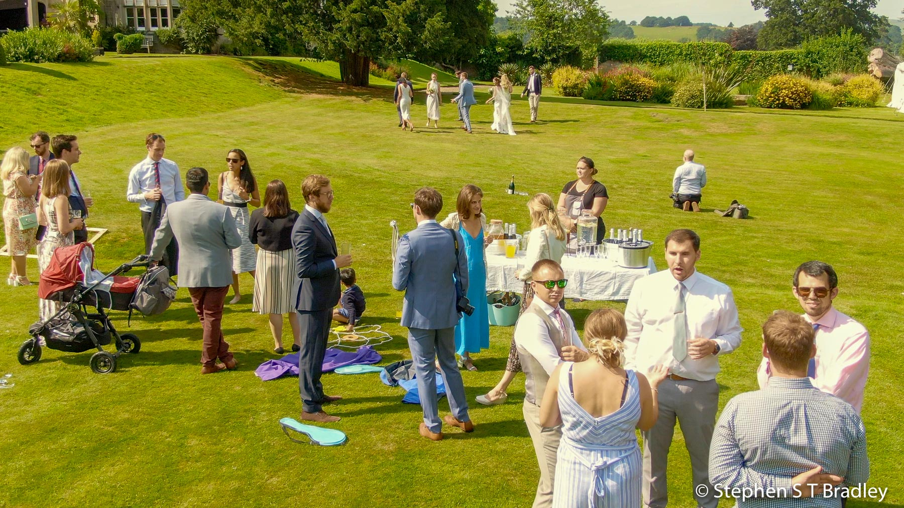 Aerial video of country house wedding at Birdsgrove, Derbyshire, UK, by Stephen S T Bradley - aerial drone photographer and video production services in Dublin and throughout Ireland. Screenshot reference 21