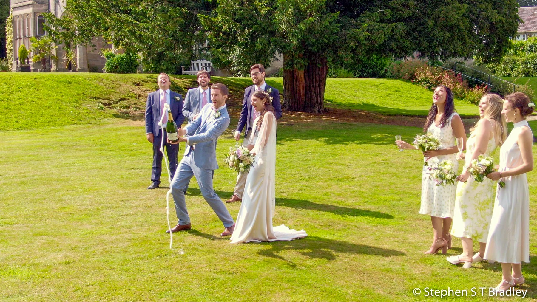 Aerial video of country house wedding at Birdsgrove, Derbyshire, UK, by Stephen S T Bradley - aerial drone photographer and video production services in Dublin and throughout Ireland. Screenshot reference 22