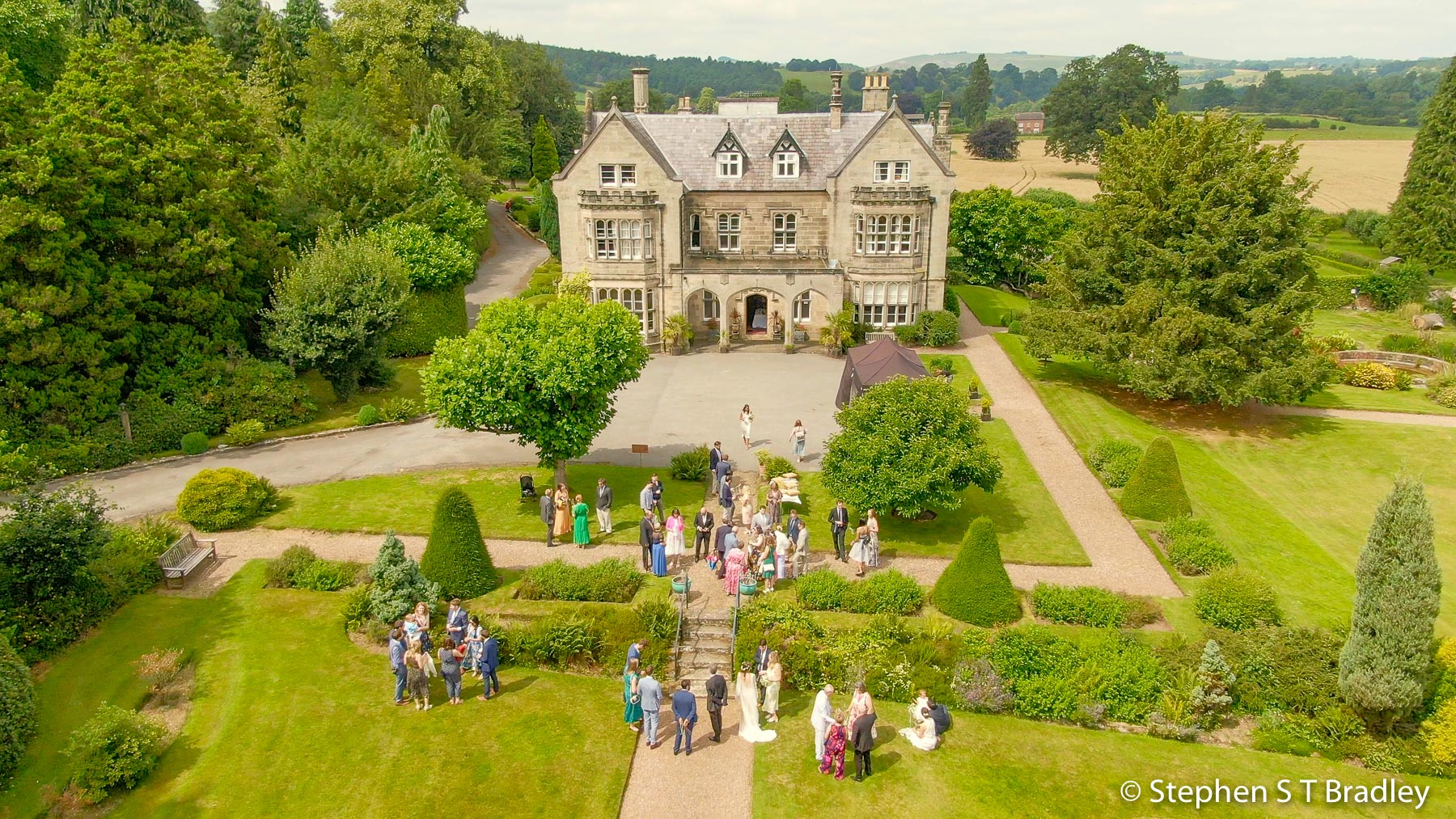 Aerial video of country house wedding at Birdsgrove, Derbyshire, UK, by Stephen S T Bradley - aerial drone photographer and video production services in Dublin and throughout Ireland. Screenshot reference 8