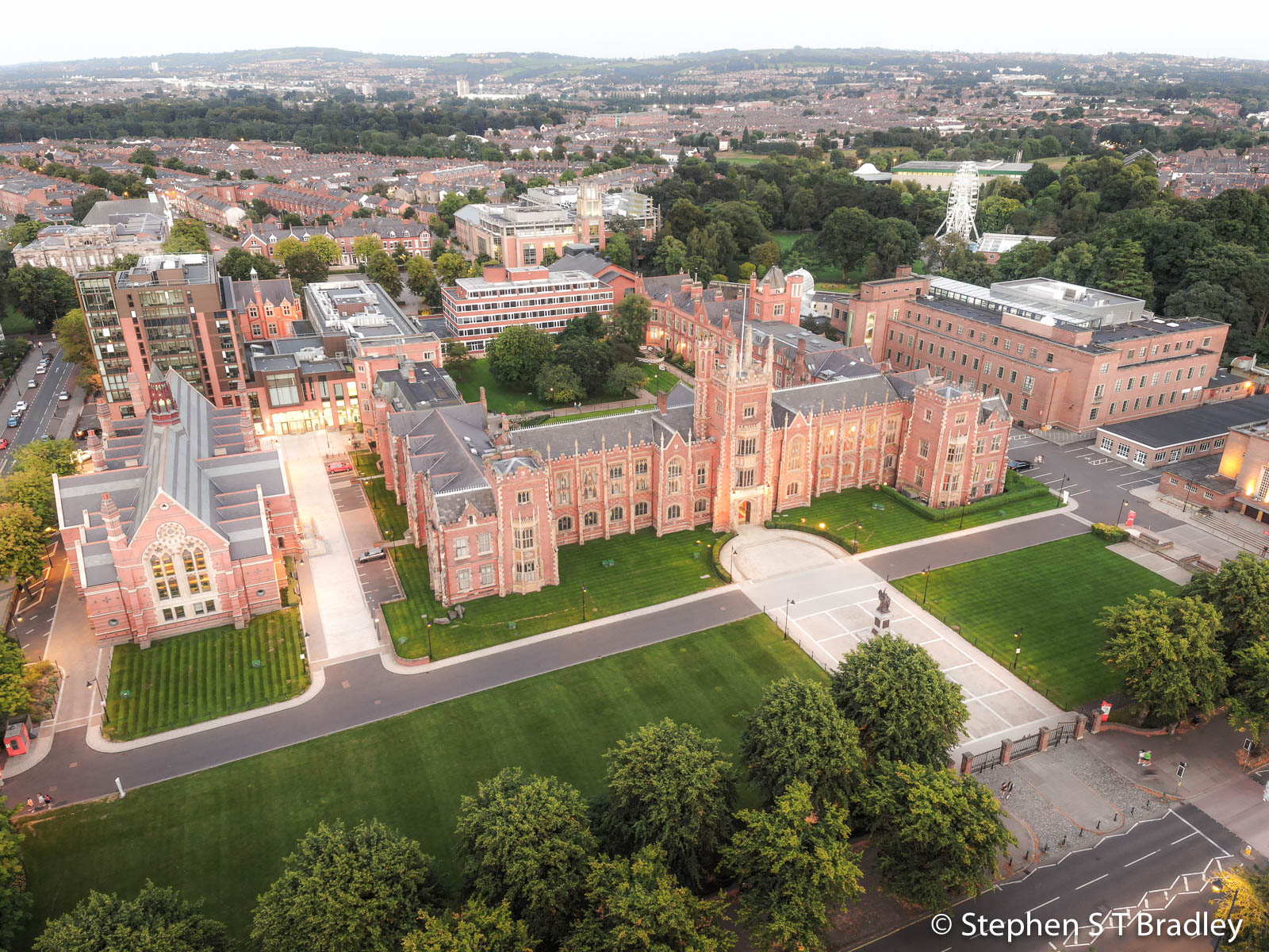 Aerial photograph of Queens University Belfast by Stephen S T Bradley - aerial drone photographer and video production services in Dublin and throughout Ireland. Photo reference 0145