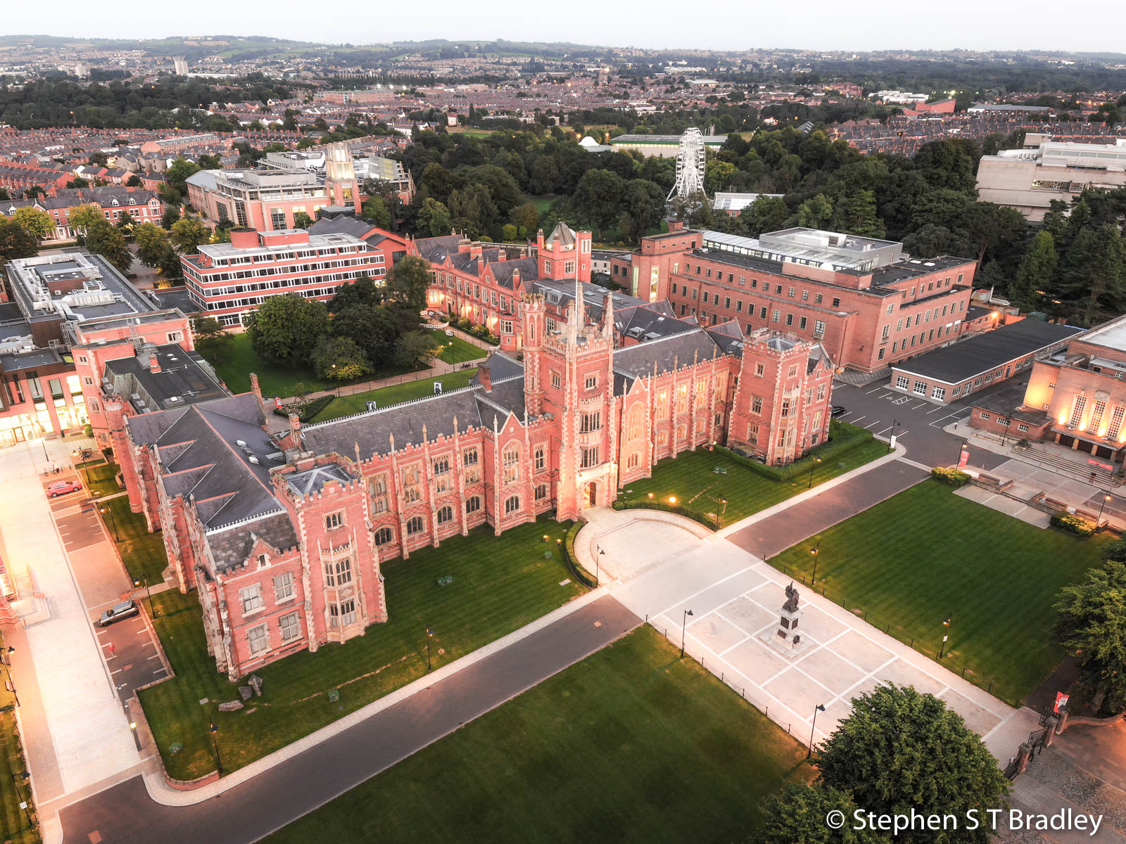 Aerial photograph of Queens University Belfast by Stephen S T Bradley - aerial drone photographer and video production services in Dublin and throughout Ireland. Photo reference 0149