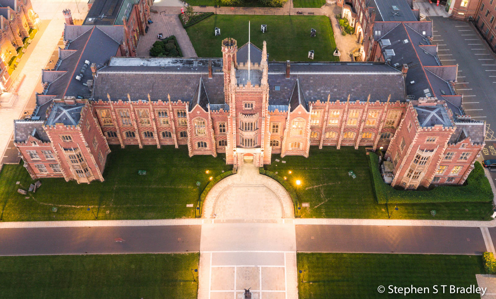 Section of aerial photograph of Queens University Belfast by Stephen S T Bradley - aerial drone photographer and video production services in Dublin and throughout Ireland
